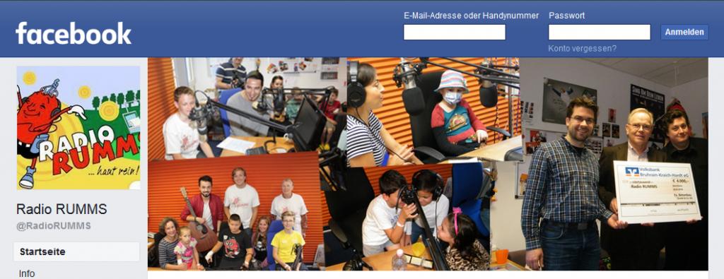 Screenshot der Facebook-Seite von Radio RUMMS