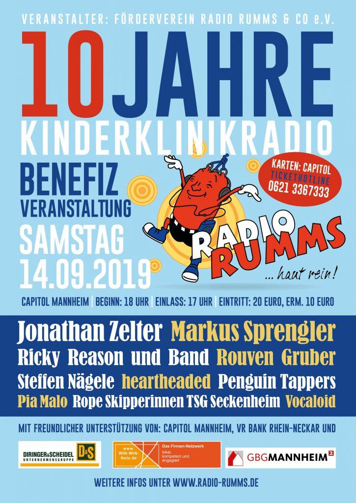 Plakat der Benefizveranstaltung am 14.09.2019 zugunsten von Radio RUMMS
