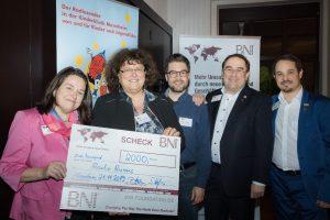 """Foto von der Spendenübergabe beim """"BNI-Dinner"""" des BNI Südwest am 21.11.2019"""